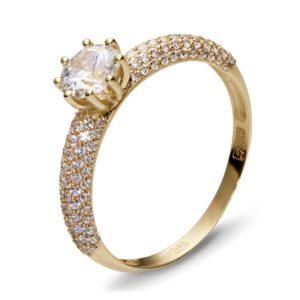 Кольцо с 111 фианитами из жёлтого золота